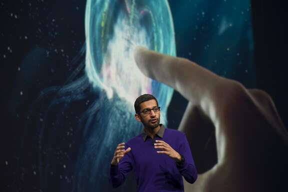 Sundar Pichai, senior vice president of Android, Chrome and Apps for Google Inc., speaks during the Google I/O Annual Developers Conference in San Francisco, California, U.S., on Wednesday, May 15, 2013. Google Inc. introduced a subscription music-streaming service, one of several product updates to be unveiled at a developer meeting this week as the search provider seeks to attract more users and advertisers. Photographer: David Paul Morris/Bloomberg *** Local Caption *** Sundar Pichai