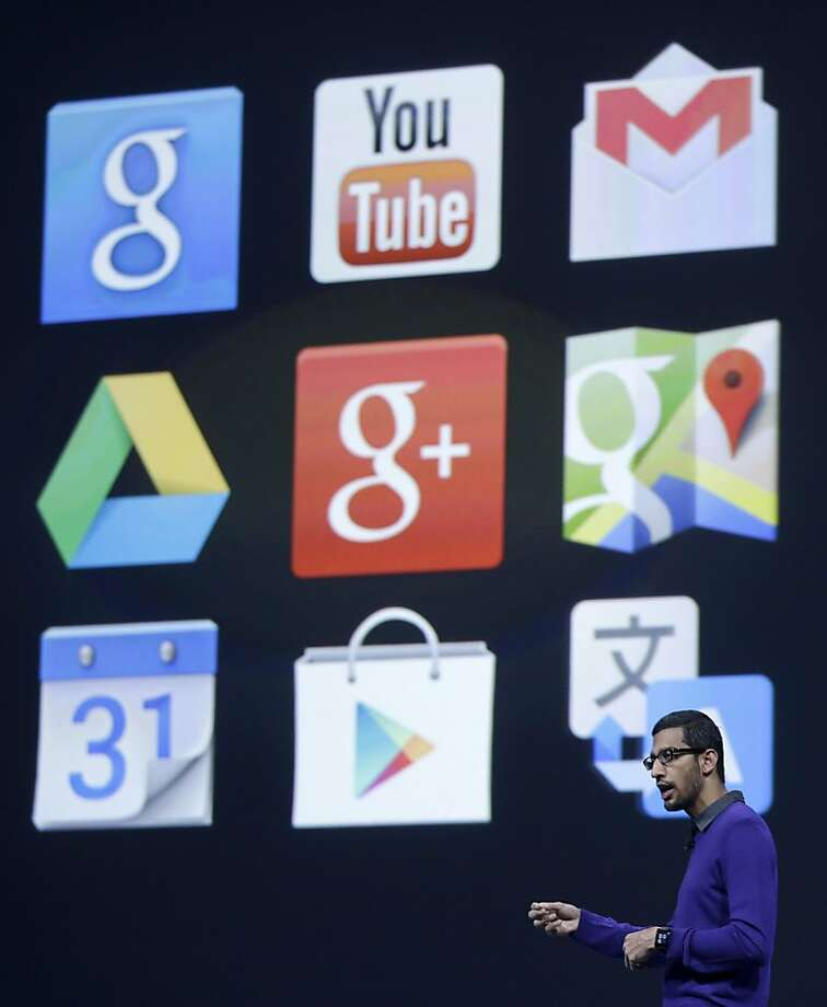 Sundar Pichai, senior vice president, Chrome and Apps at Google, speaks at Google I/O 2013 in San Francisco, Wednesday, May 15, 2013. Photo: Jeff Chiu, Associated Press