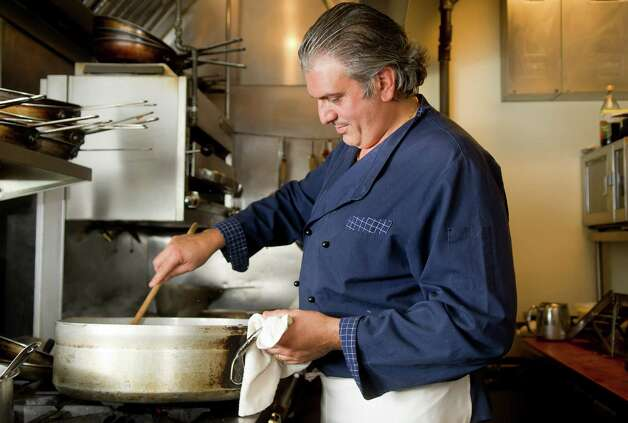 Chef Raffaele Gallo cooks in his kitchen at The Boathouse in Westport on Wednesday, May 15, 2013. Photo: Lindsay Perry / Stamford Advocate