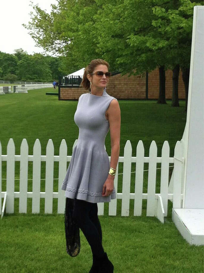 Former Victoria's Secret runway model and Greenwich resident Stephanie Seymour poses for photos prior to the polo match featuring Britain's Prince Harry on Wednesday, May 15, 2013, at the Greenwich Polo Club Photo: Neil Vigdor