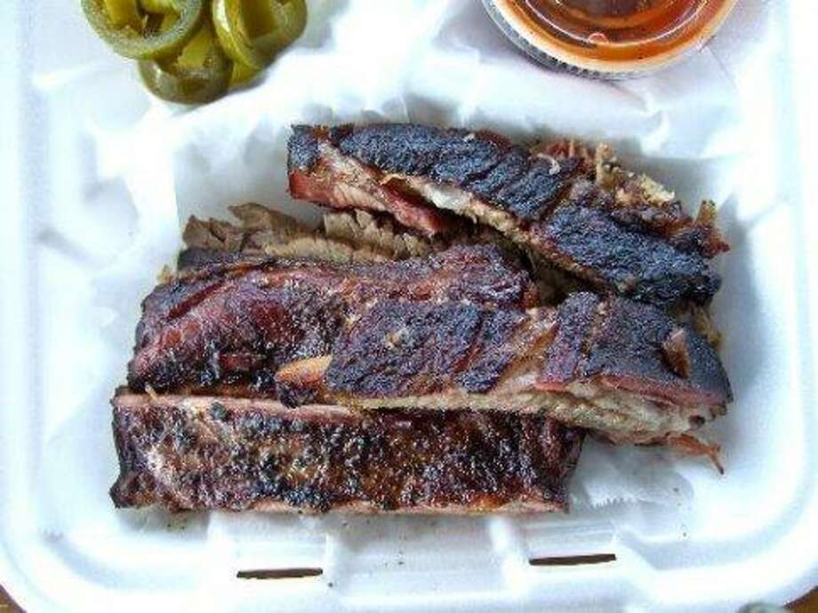 Pork ribs from Gatlin's Barbecue, which made the Texas Monthly list. 1221 W 19th St