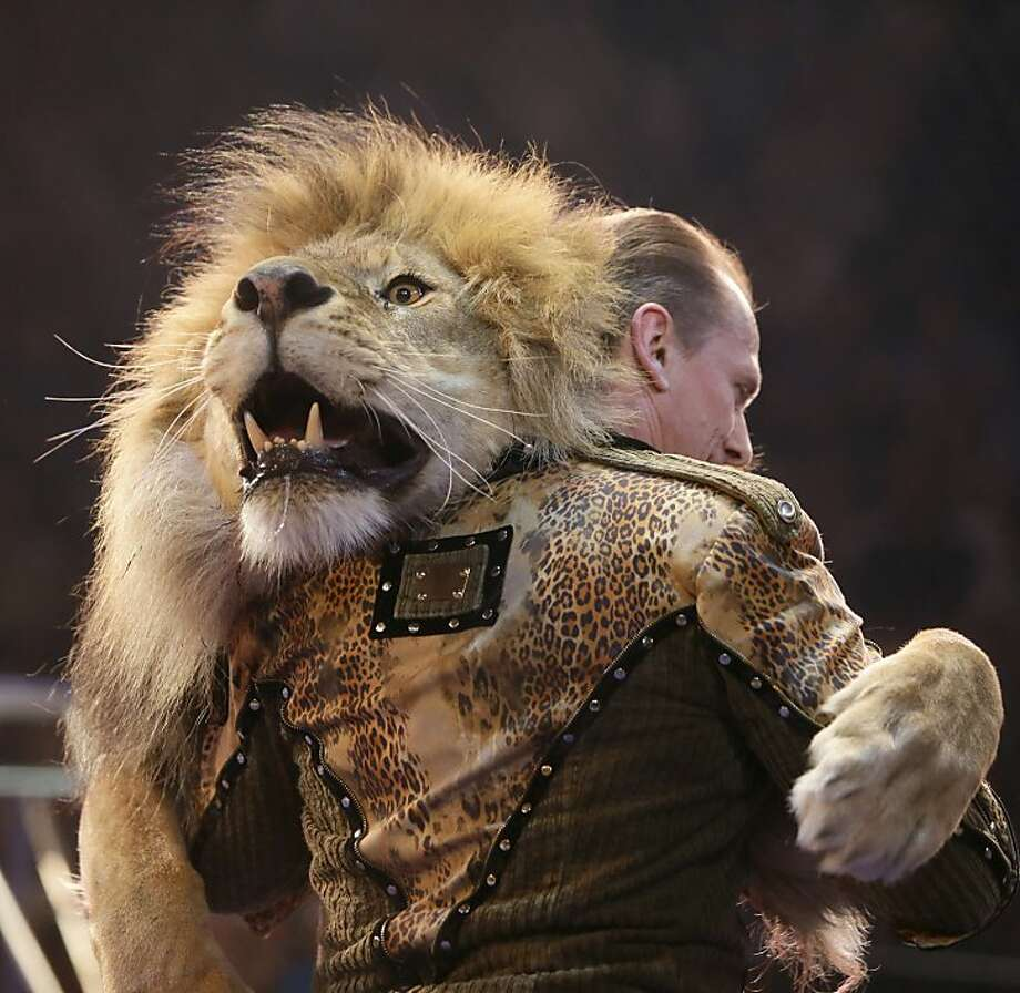 And they say the tango is dangerous: Oleksiy Pinko, a circus artist, dances with a lion during presentation of the new program in Ukraine's National Circus in Kiev, Ukraine.  Photo: Efrem Lukatsky, Associated Press