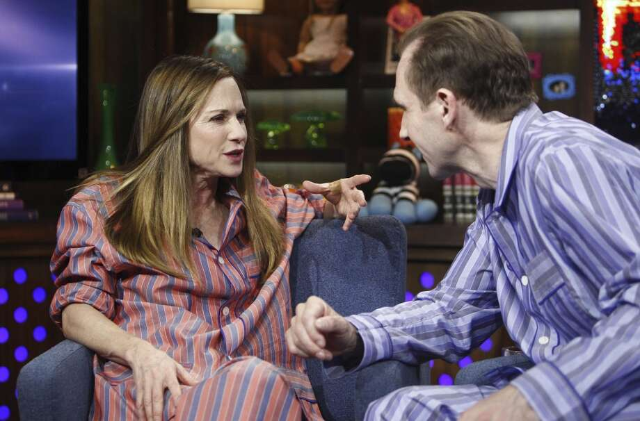 WATCH WHAT HAPPENS LIVE -- Pictured: (l-r) Holly Hunter, Ralph Fiennes -- Photo by: Peter Kramer/Bravo/NBCU Photo Bank