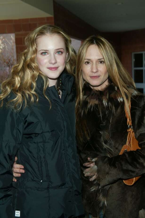 "Co-stars Evan Rachel Wood and Holly Hunter arriving at the screening for ""Thirteen"" at the 2003 Sundance Film Festival in Park City, Utah. January 17, 2003. Photo by Evan Agostini/Getty Images"