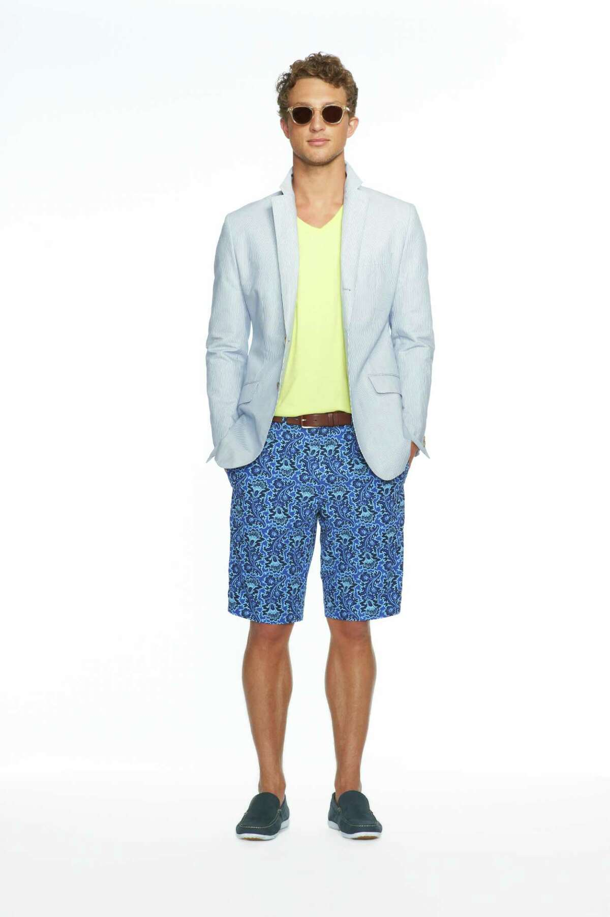 Style: Banana Republic Milly Collection Navy Corded Jacket, $250; Lime Soft-Wash Vee, $24.50; Navy Floral Printed Short, $64.50; Clear Johnny Sunglasses, $98; Navy Sailing Moccasin, $98; At Banana Republic Look 12: Chili Red Banana-Leaf Print Dress, $150.00 Turquoise Bib Necklace, $69.50 White Patent Leather Sandal, $89.00