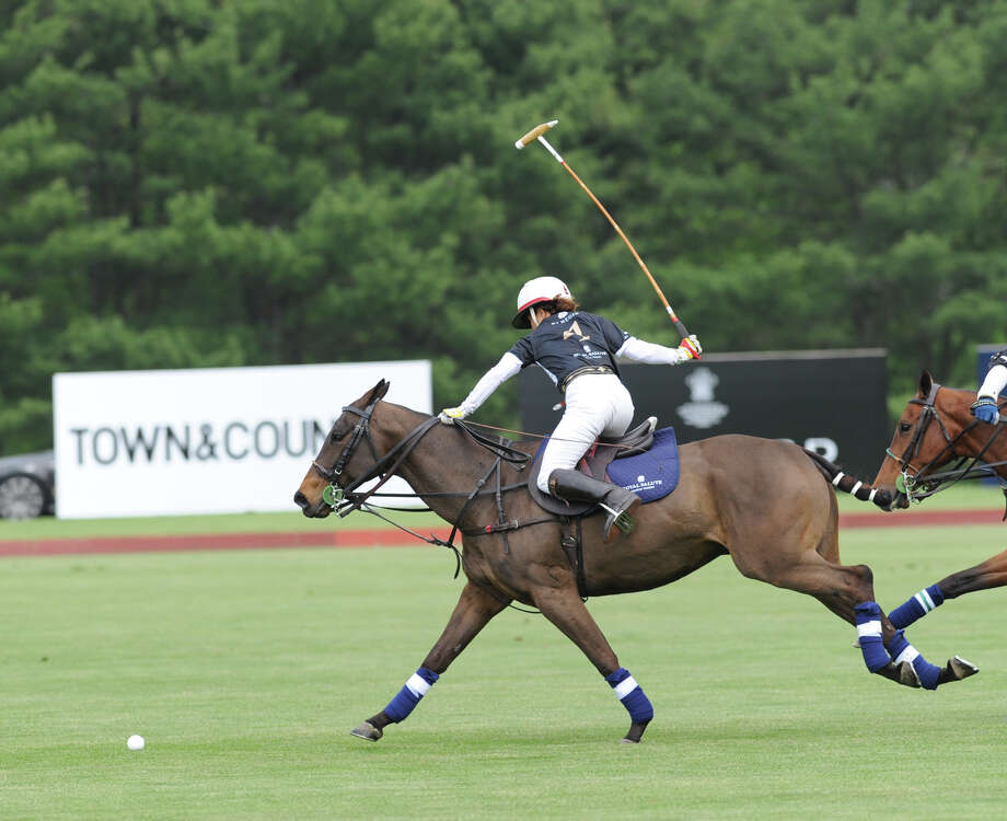 Dawn Jones of the St. Regis team in action during the Sentebale Royal Salute Polo Cup match at the Greenwich Polo Club, Wednesday, May 15, 2013. The polo match was played to raise funds for Sentebale, a charity Prince Harry co-founded in 2006 in memory of his late mother, Princess Diana. Photo: Bob Luckey / Greenwich Time