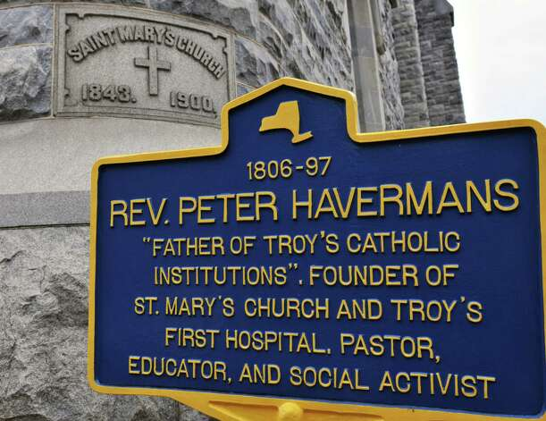 Historic marker outside the former St. Mary's church in Troy Thursday   Oct. 21, 2010.  (John Carl D'Annibale / Times Union archive) Photo: John Carl D'Annibale / 00010703A