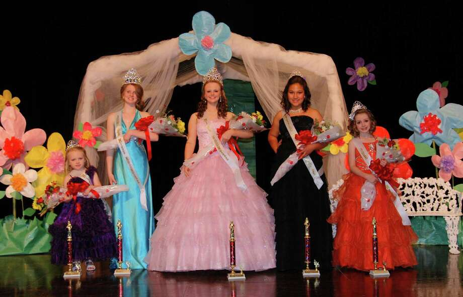 Winners of the 43rd annual Miss Kountze Pageant. Pictured left to right: Miss Tiny Tot Allison Majalca; Junior Miss Kountze Kelbi Powell; Miss Kountze Devan Nicole Walker; Little Miss Kountze Leyla Virgen; Our Lovely Miss Jillian Walters. Photo: Handout