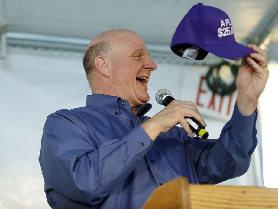May 11, 2013: The Maloofs cut a new deal with the Seattle group, led by Chris Hansen and Steve Ballmer (pictured), for a backup plan to sell 20 percent of the NBA Kings to Hansen in the event the league's Board of Governors next week rejects the team's relocation to Seattle, according to an ESPN report.   Hansen's group also, ESPN reports, has offered to pay a $115 million relocation fee to the NBA for the owners to split. The league's relocation committee is reported to be meeting again before the full board's vote May 15.  Furthermore, Art Thiel of SportsPressNW reports that the relocation committee's vote in April, a supposedly unanimous 7-0 vote to recommend keeping the Kings in Sacramento, was actually a 4-3 decision before the minority agreed to vote with the majority for the sake of unamity.  Photo: Ted S. Warren, Associated Press