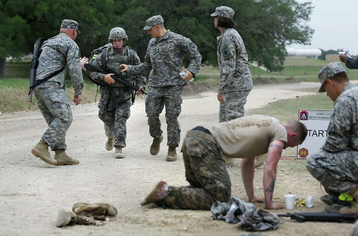 U.S. Army troops participate in the Best Warrior Competition at Joint Base San Antonio Camp Bullis on Wednesday, May 15, 2013.