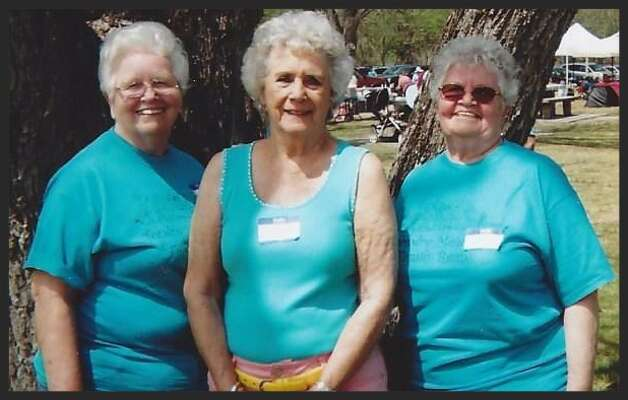 Seventy plus years later at a family reunion three cousins posed together. Note the big bows in their hair! Taken in 2013 at the Tondre-Meier Reunion in Castroville, TX Photo: Courtesy Debra Hengst