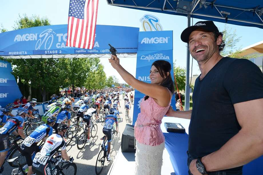 In support of Breakaway from Cancer, actor Patrick Dempsey and Murrieta cancer survivor Karen Cannella start Stage 2 of the 2013 Amgen Tour of California on May 13, 2013 in Murrieta, California.