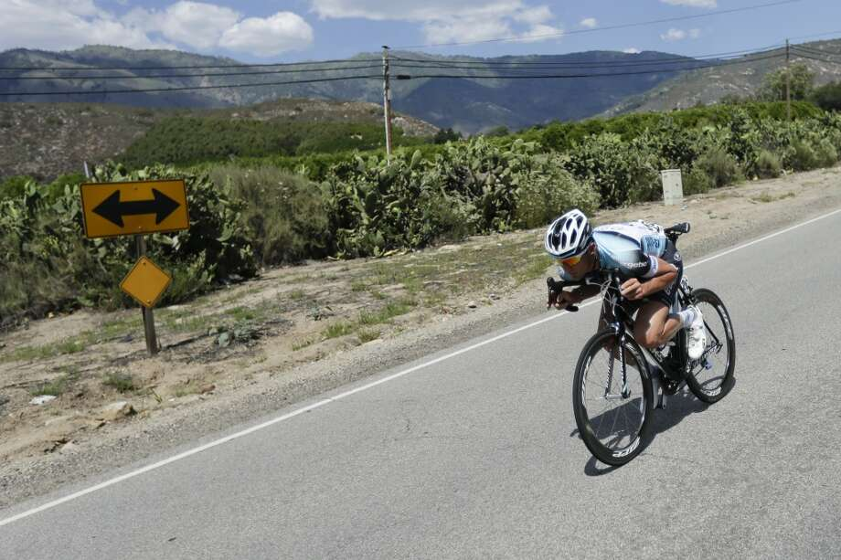 Guillaume Van Keirsbulck of Belgium descends during the first stage of the Tour of California cycling race over a 102.6 mile (165.12 kilometers) loop  Sunday, May 12, 2013, starting and finishing in Escondido, Calif.
