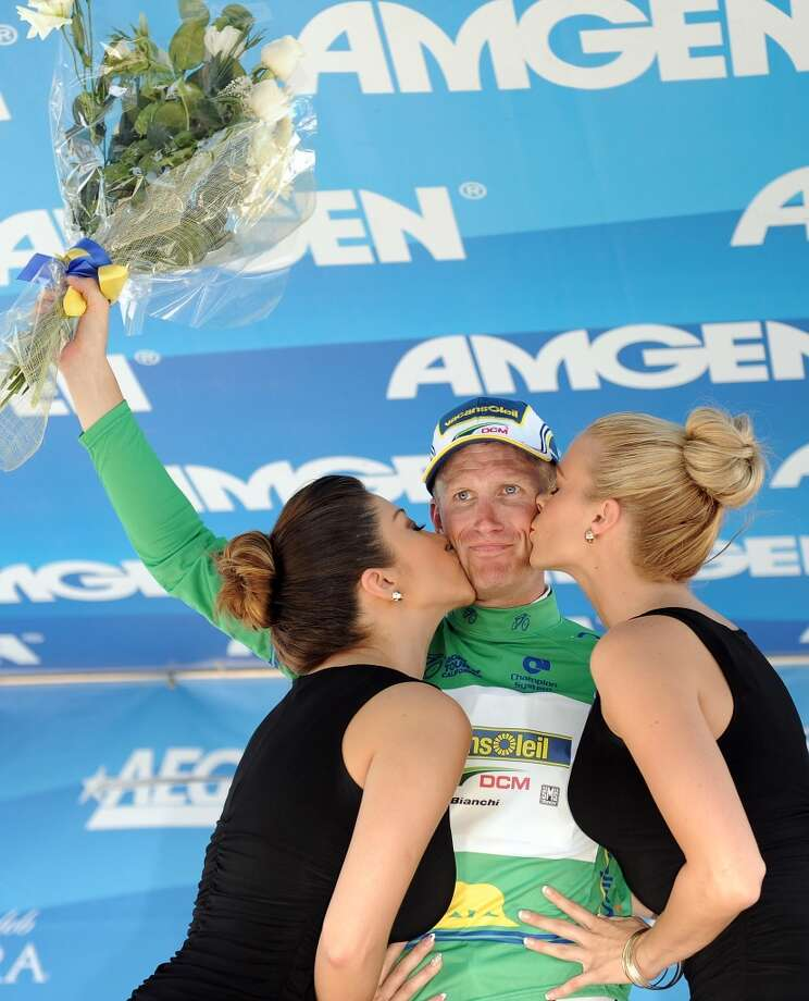 Lieuwe Westra of The Netherlands riding for Vacansoleil-DCM reacts as he receives kisses for retaining the green points leader jersey during Stage 3 of the Tour of California on May 14, 2013 in Santa Clarita, California.