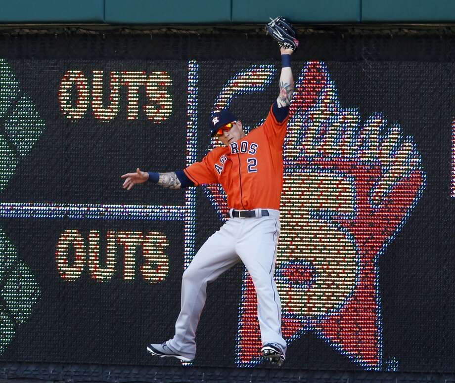 May 15: Astros 7, Tigers 5 Brandon Barnes goes up against the wall to catch a fly ball hit by Miguel Cabrera for the final out.