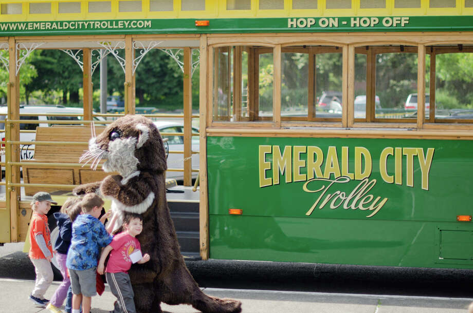The new Emerald City Trolley stops at Woodland Park Zoo. Photo: Drew Symonds, The Fearey Group