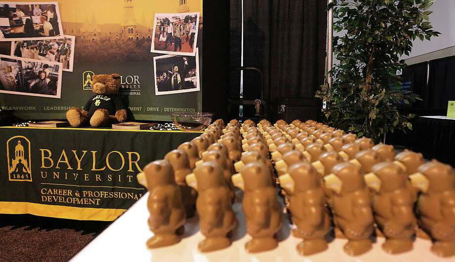 A row of squeezable bears at the Baylor University booth during setup for the 2013 Gulf Coast Symposium on HR Issues at Reliant Center Wednesday, May 15, 2013, in Houston. ( James Nielsen / Houston Chronicle ) Photo: James Nielsen, Staff / © 2013  Houston Chronicle