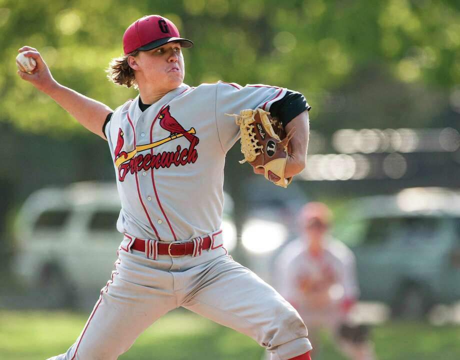 Greenwich high school pitcher, Kyle Dunster, pitching against New Canaan high school in a baseball game played at Mead Memorial Park, New Canaan, CT on Wednesday May 15th, 2013. Photo: Mark Conrad / Stamford Advocate Freelance