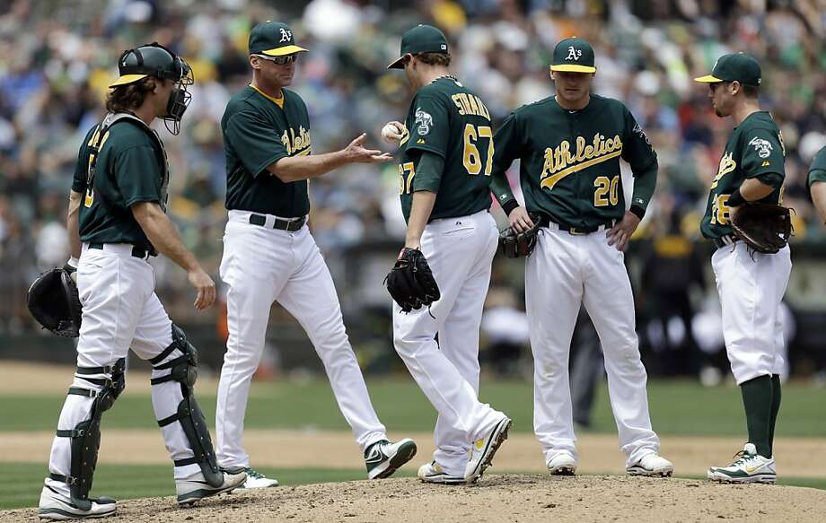 Oakland Athletics' Dan Straily (67) is removed from the baseball game against the Texas Rangers by manager Bob Melvin, second from left, during the fifth inning Wednesday, May 15, 2013, in Oakland, Calif. (AP Photo/Ben Margot) Photo: Ben Margot, Associated Press