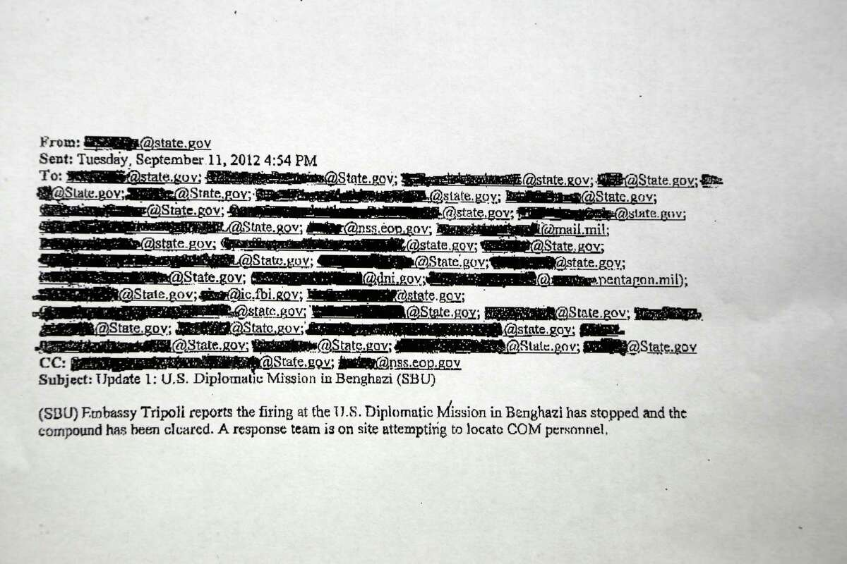 A copy of one of a hundred pages of emails shows numerous cross-outs related to correspondence on the attack of the U.S. Consulate in Benghazi.