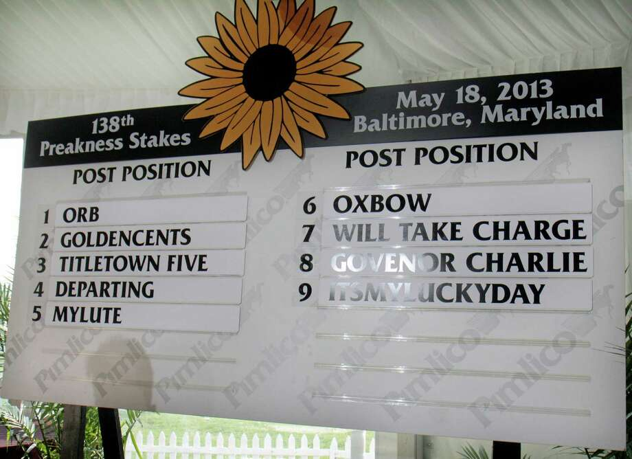 The field for the 138th Preakness Stakes is set after a blind draw at Pimlico Race Course in Baltimore, Wednesday, May 15, 2013. Despite getting the inside post in Wednesday's draw, Orb was made an even-money favorite to win the Preakness and keep alive his bid to become horse racing's first Triple Crown winner since Affirmed in 1978. (AP Photo/Garry Jones) Photo: Garry Jones, Associated Press / FR50389 AP