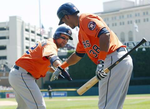 May 15: Astros 7, Tigers 5  Carlos Corporan, left, hit a solo homer in the fourth inning and drove in the go-ahead run with a double in the ninth.  Record: 11-30. Photo: Duane Burleson, Getty Images