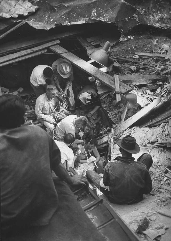 Workmen searching the wreckage of the Waco tornado for survivors in May 1953. Photo: John Dominis, Time Life Pictures / Getty Images / Time Life Pictures