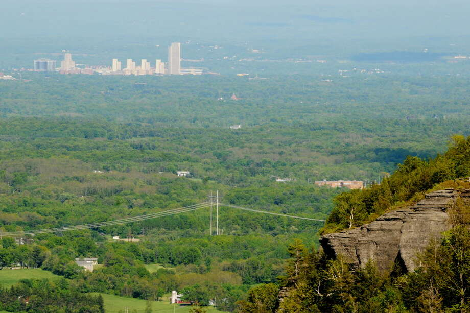 The view of Corning Tower from Thacher State Park