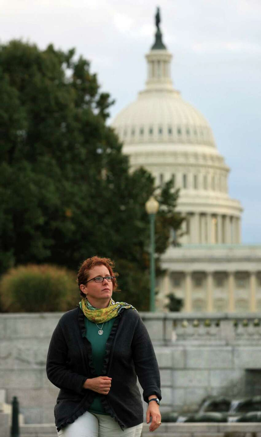 Jenny McClendon discusses sexual assaults by fellow sailors, on Saturday, Oct. 18, 2012 in Washington DC.