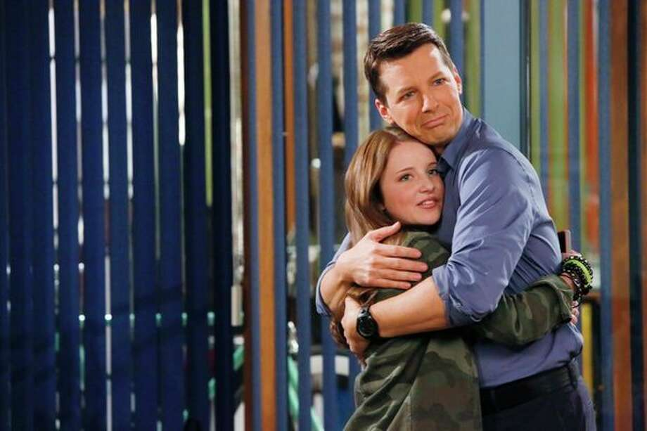 SEAN SAVES THE WORLD -- Pilot -- Pictured: (l-r) Samantha Isler as Ellie, Sean Hayes as Sean -- Photo: NBC, Vivian Zink/NBC / 2013 NBCUniversal Media, LLC