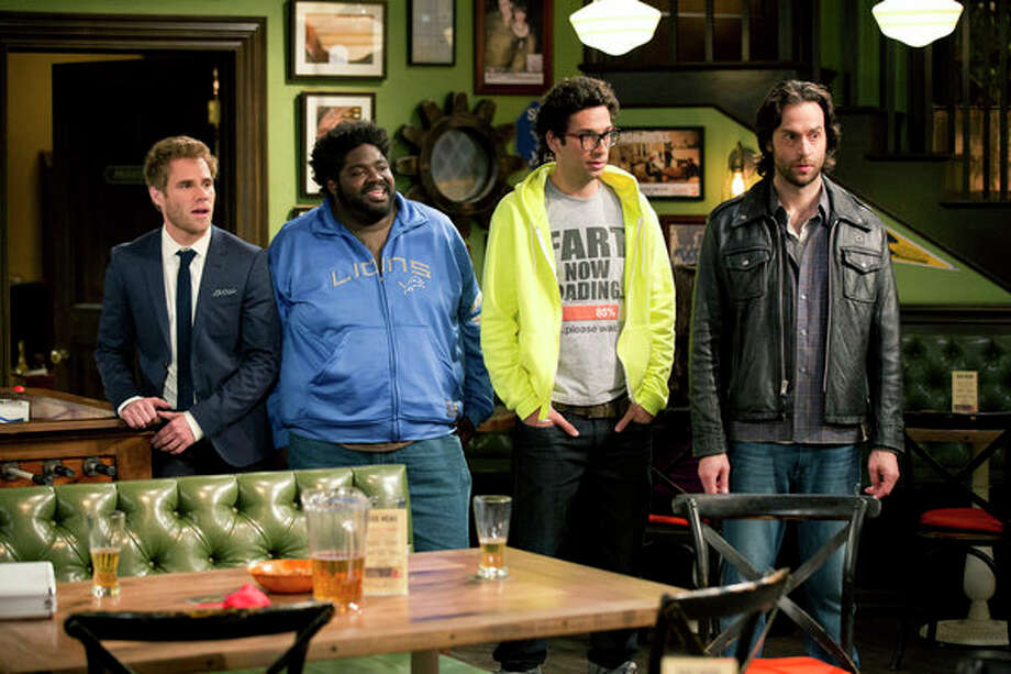 UNDATEABLE -- Pilot -- Pictured: (l-r) Matthew Wilkas as Brett, Ron Funches as Shelly, Rick Glassman as Burski, Chris D'Elia as Danny Beeman -- Photo: NBC, Justin Lubin/NBC / 2013 NBCUniversal Media, LLC