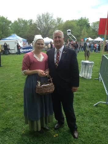 Were you Seen posing with Albany Mayor Jerry Jennings?   Erica Nuckles from Crailo State Historic Site at Tulip Fest 2013.  Submitted by Erica Nuckles. Photo: Reader-submitted