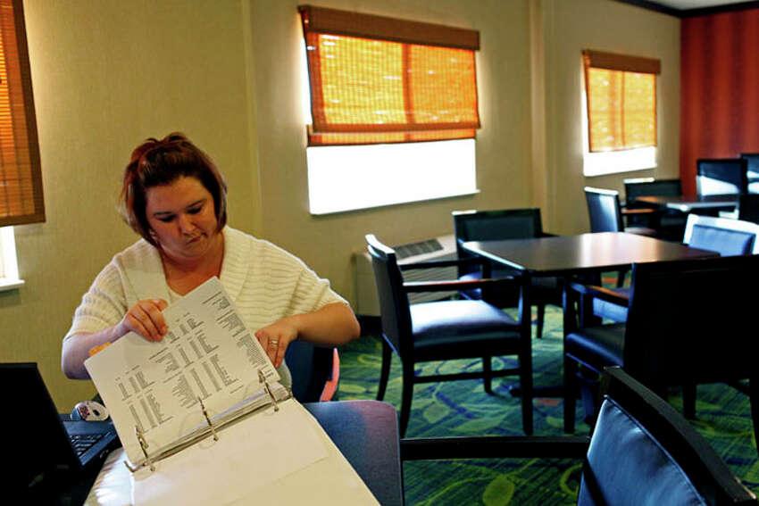 Kelly Smith works at the Fairfield Inn by Marriott in Abilene on Thursday, Nov. 1, 2012.