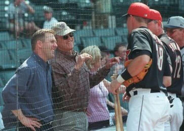 Reid Ryan, left, is the president and CEO of Ryan Sanders Baseball. (Chronicle file photo)