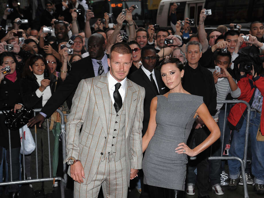 David Beckham and Victoria Beckham arrive at the Beckham Signature fragrance launch at Macy's Herald Square on September 26, 2008 in New York City. Photo: Brian Ach, WireImage / WireImage