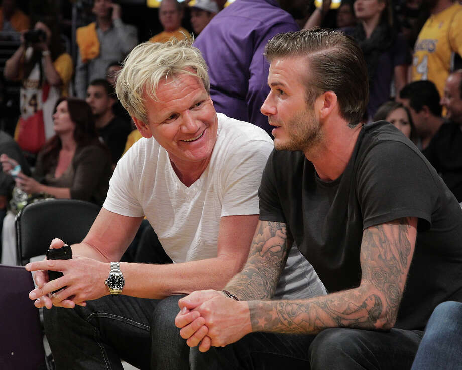 Gordon Ramsay (L) and David Beckham attend the game between the Dallas Mavericks and the Los Angeles Lakers at Staples Center on May 2, 2011 in Los Angeles. Photo: Noel Vasquez, Getty Images / 2011 Getty Images