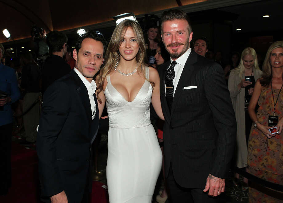 Singer Marc Anthony, Shannon De Lima and professional soccer player David Beckham arrive at the 27th Anniversary Sports Spectacular benefiting Cedars-Sinai Medical Genetics Institute at the Hyatt Regency Century Plaza on May 20, 2012 in Century City, California. Photo: Mark Davis / 2012 Getty Images
