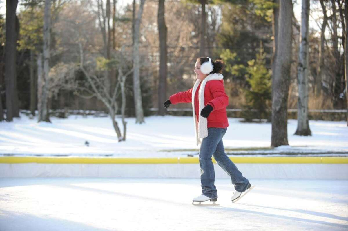 Tonianne DelCarmine-Ferraro, 9, finds some good form as she learns how to skate at the DelCarmine home rink in North Stamford, Sunday, Jan. 10th, 2010.