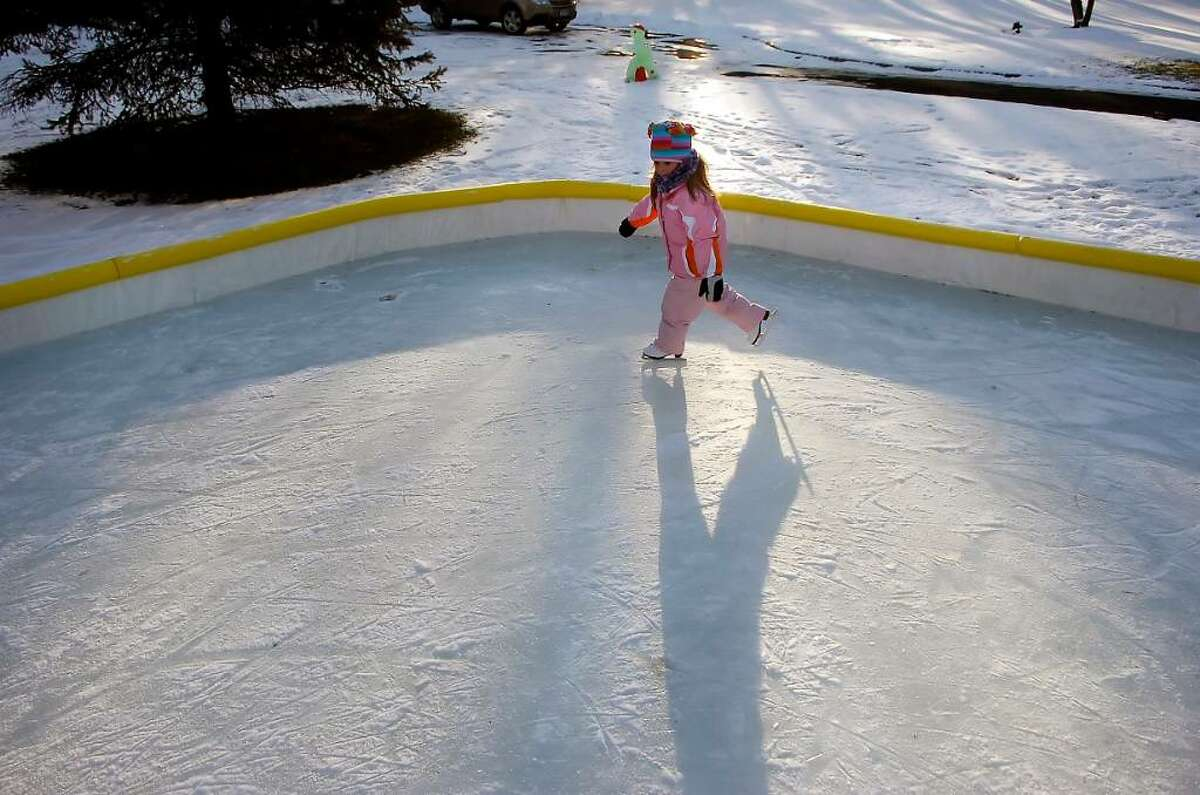 Taylor DelCarmine, 5, in action at the rink of her family in North Stamford, Sunday, Jan. 10th, 2010.