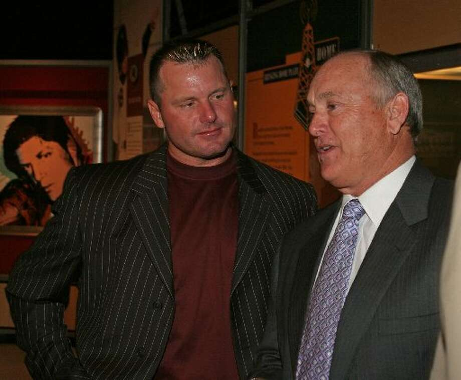 Generations meet as Roger Clemens and Nolan Ryan are two of the game's best pitchers. Photo: Gary Fountain, Chronicle File