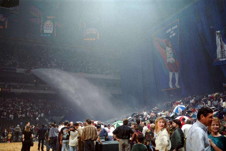 A water cannon, set off by pregame fireworks, spewed thousands of gallons of water, drenched and scattered fans, soaked the court and delayed the start of the the Spurs' home opener for 50 minutes on Nov. 4, 1994.