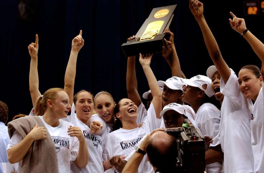 Sue Bird and her Uconn teammates celebrate their national championship after defeating Oklahoma in 2002 at the Alamodome. The matchup drew more than 29,000, the largest crowd to witness an NCAA women's basketball championship game.