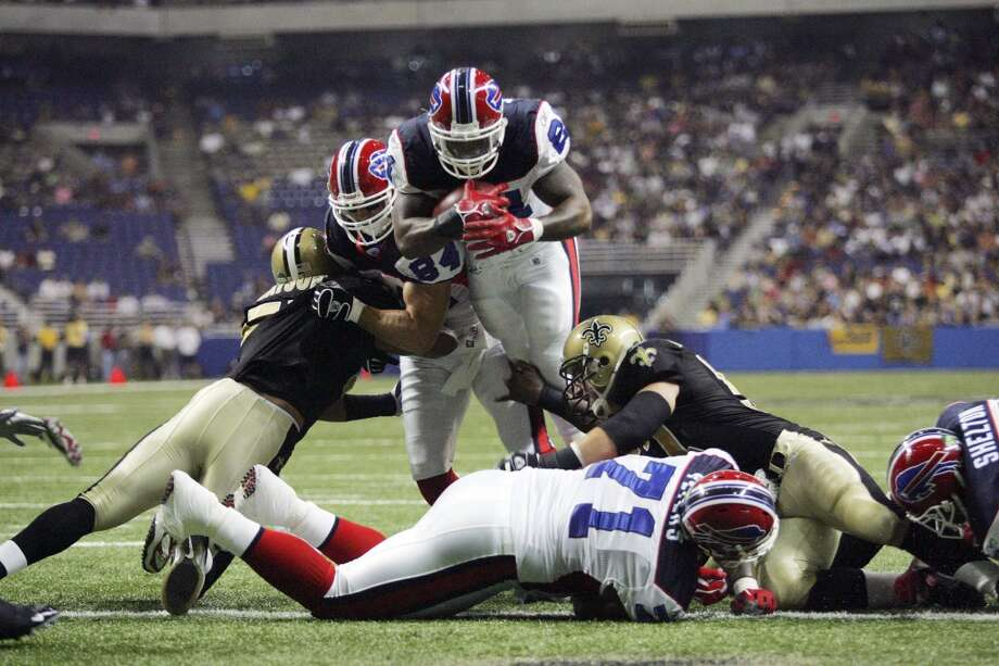 Buffalo Bills Willis McGahee scores the first touchdown in a regular NFL season game at the Alamodome against the New Orleans Saints on Oct. 2, 2005. The Saints played four games at the Alamodome after being displaced from the Superdome because of Hurricane Katrina.