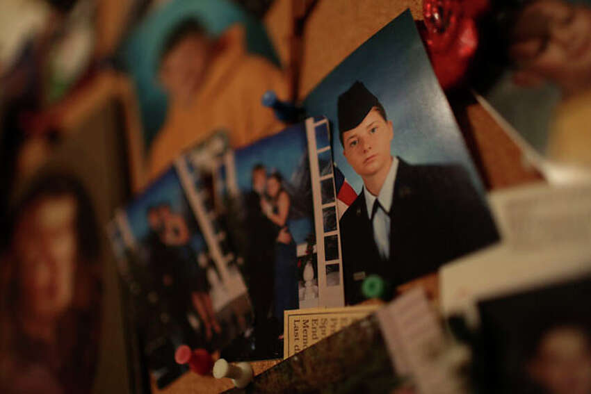 Myah Bilton-Smith's photo from basic training at Joint Base San Antonio-Lackland hangs at her great-grandmother's home.