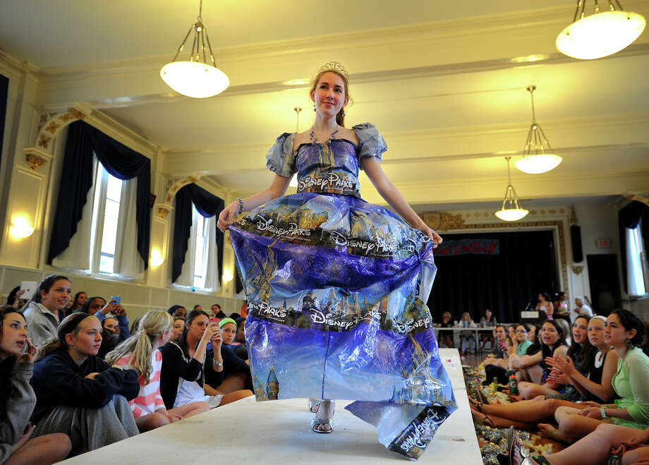 Lauralton Hall student Sarah Parlato took first place overall with her dress made from Disney plastic bags at the annual Eco Fashion Show put on by the Environmental Club at Lauralton Hall in Milford, Conn. on Thursday, May 16, 2013. Photo: Brian A. Pounds / Connecticut Post