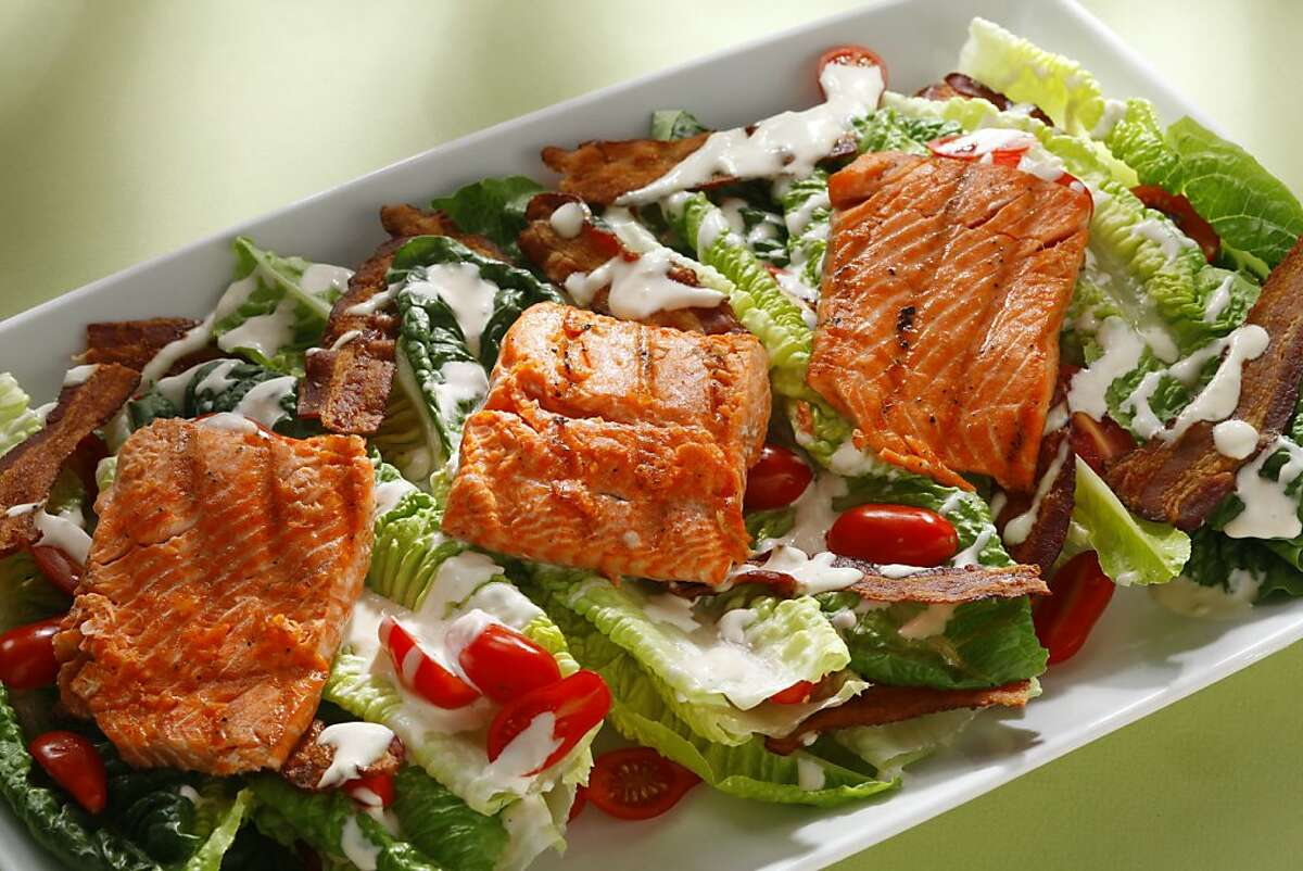 Grilled salmon BLT salad as seen in San Francisco, California, on May 15, 2013. Food styled by Amanda Gold.