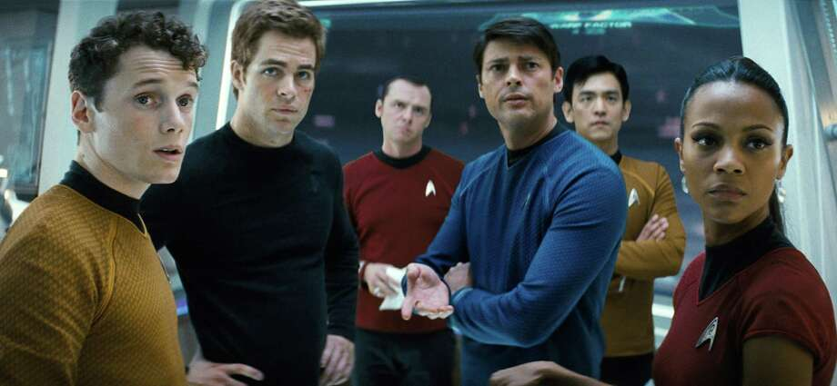 "In this film publicity image released by Paramount Pictures, from left, Anton Yelchin as Chekov, Chis Pine as James T. Kirk, Simon Pegg as Scotty, Karl Urban as Bones, John Cho as Sulu and Zoe Saldana as Ohura are shown in a scene from, ""Star Trek."" (AP Photo/Paramount Pictures, Industrial Light & Magic) ** NO SALES ** Photo: Industrial Light & Magic / Paramount"