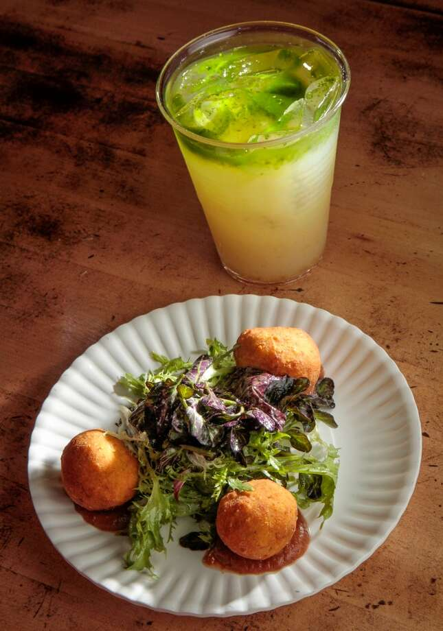 The Paneer Puffs with a Cilantro Lemonade, (Nimbu Pani).