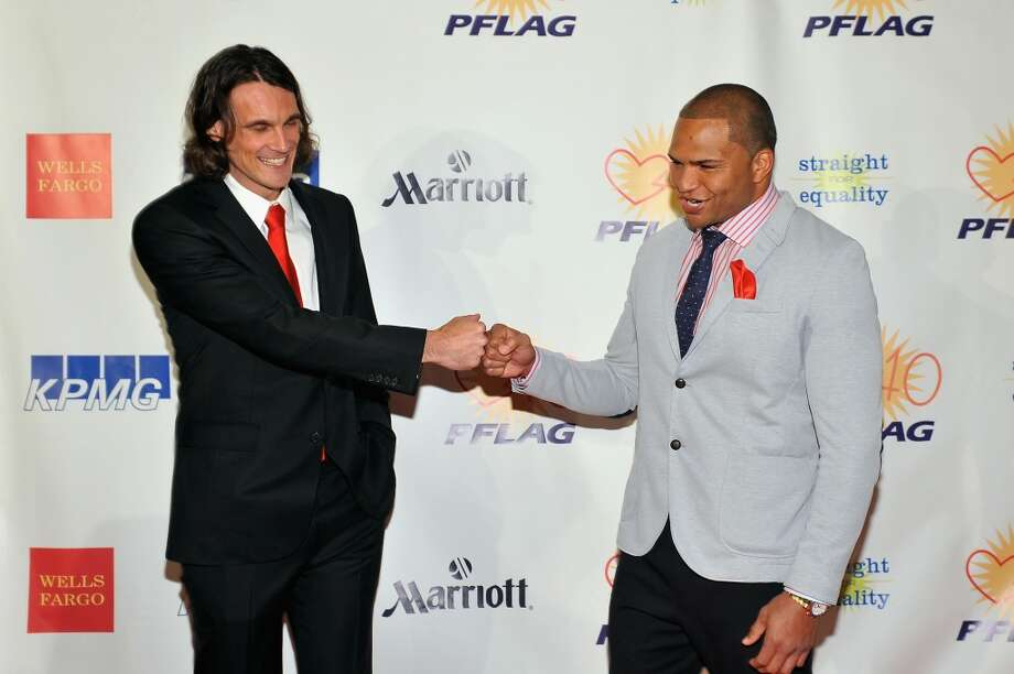 NFL players Chris Kluwe and Brendon Ayanbadejo attends the fifth annual PFLAG National Straight for Equality Awards at Marriott Marquis Hotel on April 4, 2013 in New York City.