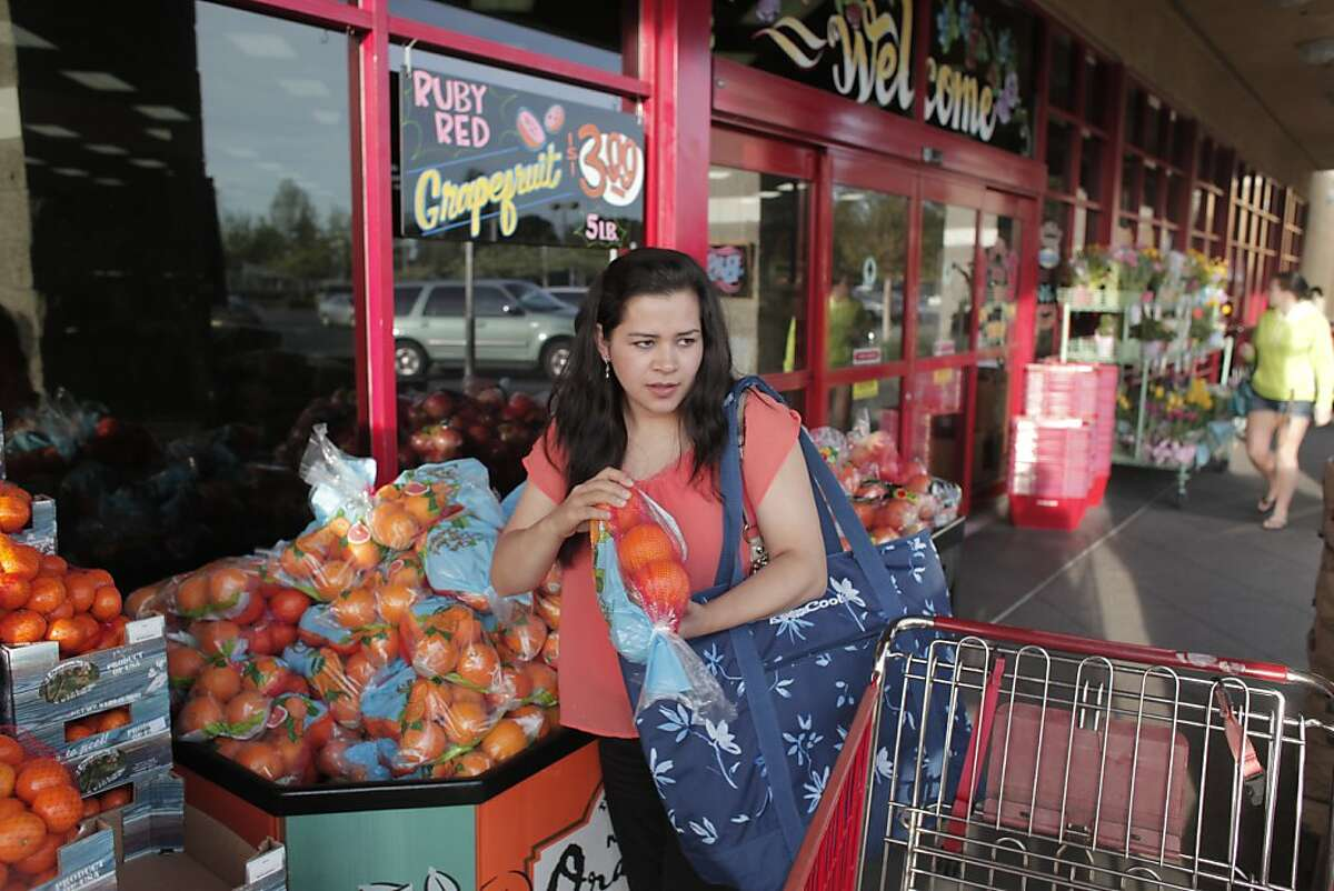 Irma Barragan picks up fresh produce from Trader Joes in Santa Rosa, Calif. on Saturday, April 13 2013. The trip from her home in Mendocino to Santa Rosa will often take eight hours so she only goes once every three weeks.
